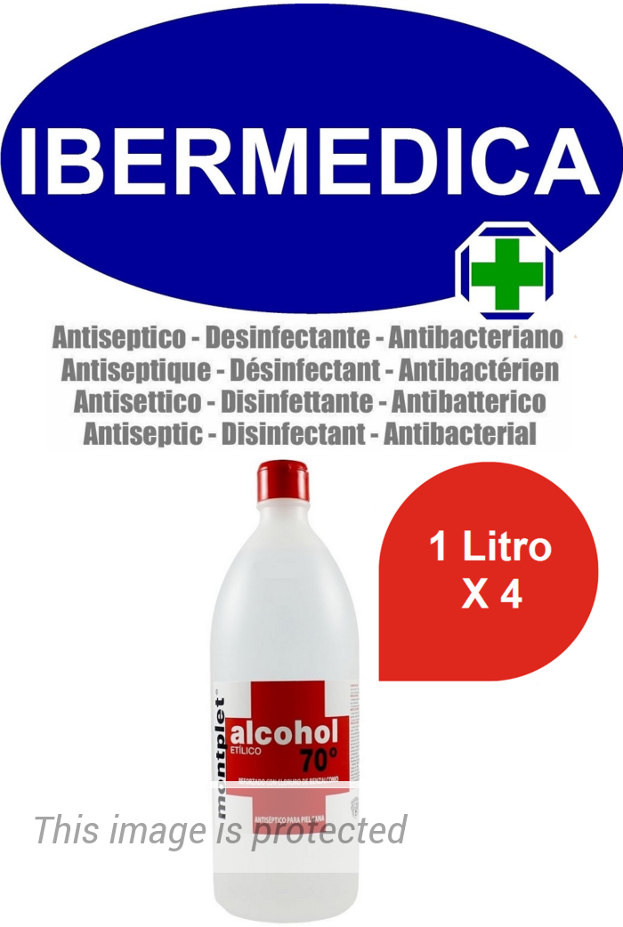 MONTPLET 4 LITROS ALCOHOL ETILICO 70º REFORZADO CON CLORURO DE BENZALCONIO ANTI BACTERIAS, DESINFECTANTE, ANTISÉPTICO.
