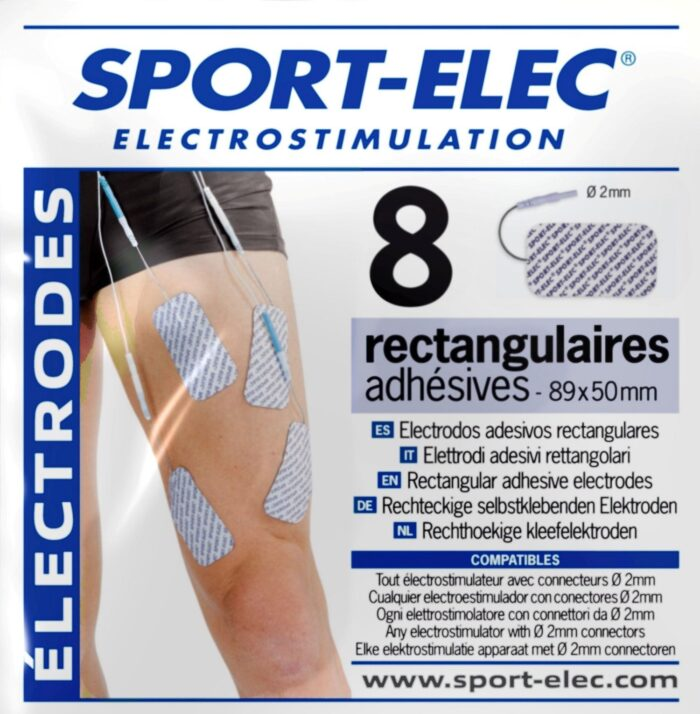 electrodos rectangulares 89X50 mm conexión 2mm