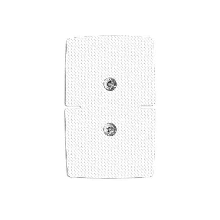 2 ELECTRODOS ADHESIVOS RECTANGULARES 110 X 71 mm 2 SNAP (clip) de 3,5 mm COMPATIBLES ELECTROESTIMULADORES DE MARCA COMPEX - CEFAR