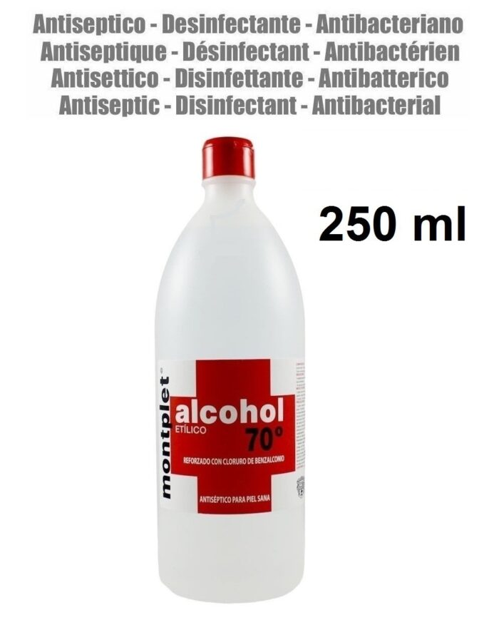 250 ml ALCOHOL DESINFECTANTE ANTI BACTERIAS ETILICO 70º REFORZADO