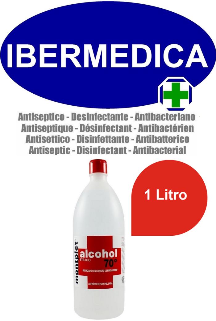 MONTPLET 1 LITRO ALCOHOL ETILICO 70º REFORZADO CON CLORURO DE BENZALCONIO ANTI BACTERIAS, DESINFECTANTE, ANTISÉPTICO.