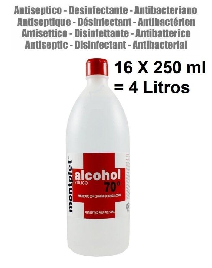 16 X 250 ml ( 4 LITROS ) ALCOHOL DESINFECTANTE ANTI BACTERIAS ETILICO 70º REFORZADO