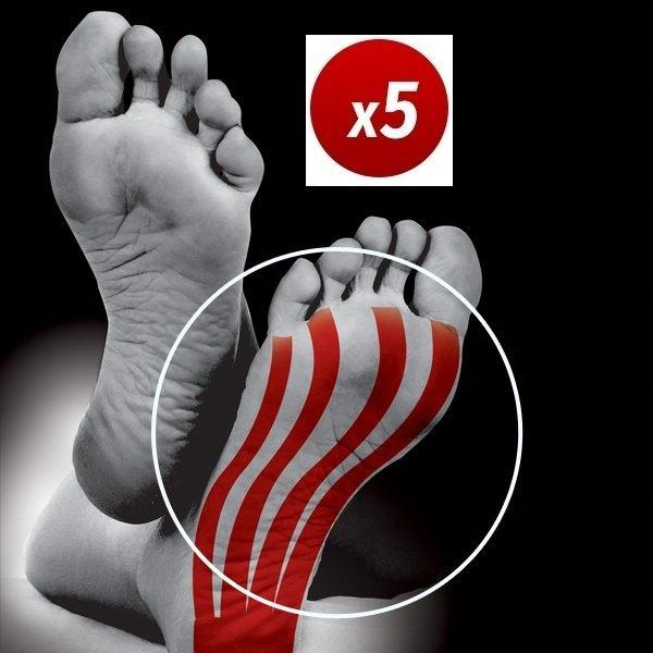 Vendaje funcional neuromuscular precortado para el arco del pie. Pack de 5 unidades. Aplicación rápida y sencilla.