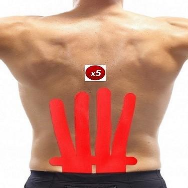 Vendaje funcional neuromuscular precortado para espalda. Pack de 5 unidades. Aplicación rápida y sencilla.
