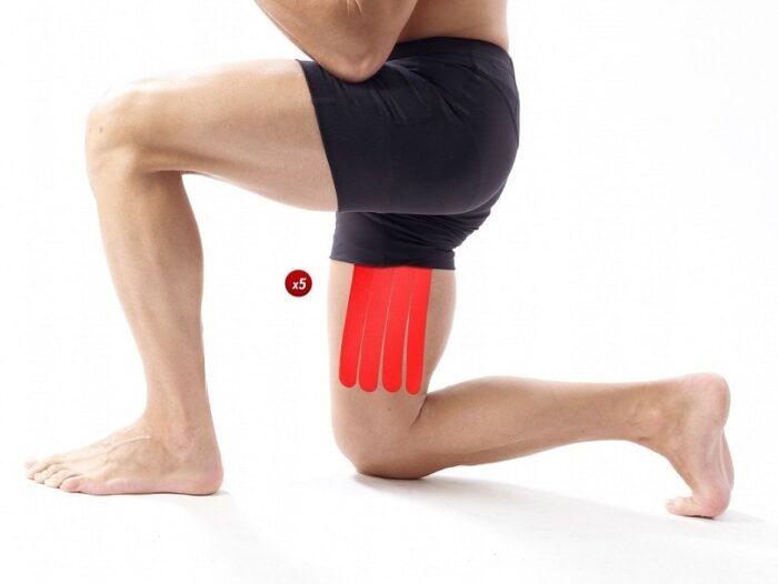 Vendaje funcional neuromuscular precortado para el muslo. Pack de 5 unidades. Aplicación rápida y sencilla.