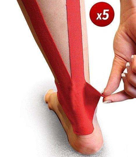 Vendaje funcional neuromuscular precortado para tendón de aquiles. Pack de 5 unidades. Aplicación rápida y sencilla.
