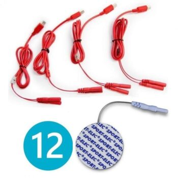 4 CABLES USB MULTISPORTPRO FILAIRE MAS 12 ELECTRODOS REDONDOS