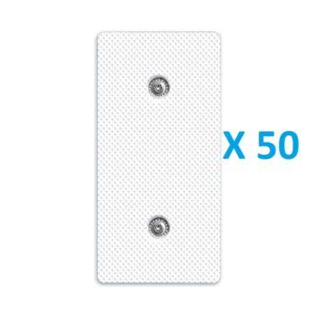 50 ELECTRODOS ADHESIVOS RECTANGULARES 100 X 50 mm COMPATIBLES MULTIMARCAS COMPEX CEFAR