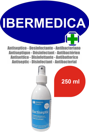 Bactiseptic alcohol 70 antiséptico, acción 99 % antimicrobiana, anti virus, spray 250 ml.