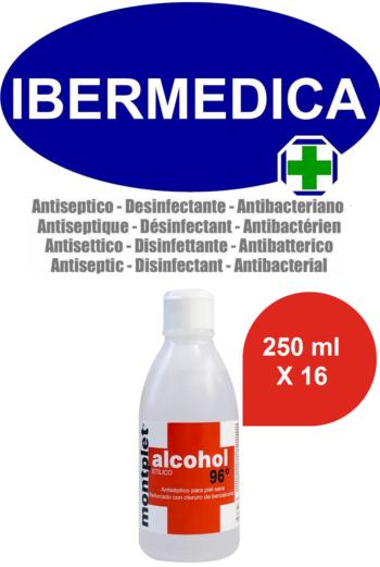 MONTPLET 16 X 250 ml ALCOHOL ETILICO 96º REFORZADO CON CLORURO DE BENZALCONIO ANTI BACTERIAS, DESINFECTANTE, ANTISÉPTICO.