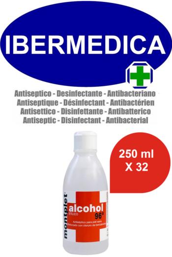 MONTPLET 32 X 250 ml ALCOHOL ETILICO 96º REFORZADO CON CLORURO DE BENZALCONIO ANTI BACTERIAS, DESINFECTANTE, ANTISÉPTICO.